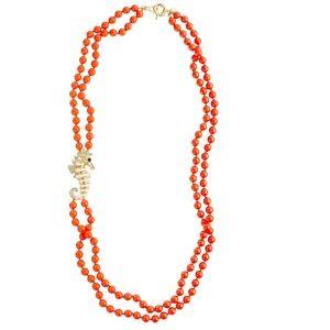 RARE Jcrew double-strand seahorse necklace